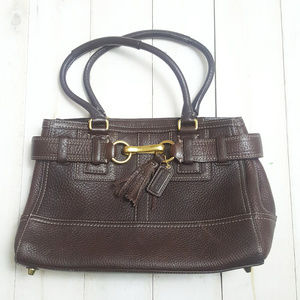 Coach All Leather Brown Handbag Shoulder Genuine